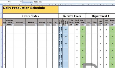 production planning in excel separate data calculation and reporting