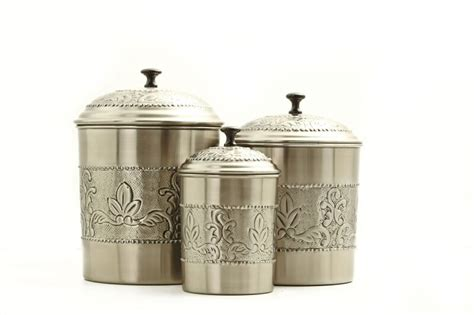 antique canisters kitchen antique embossed pewter canister set 3 pc