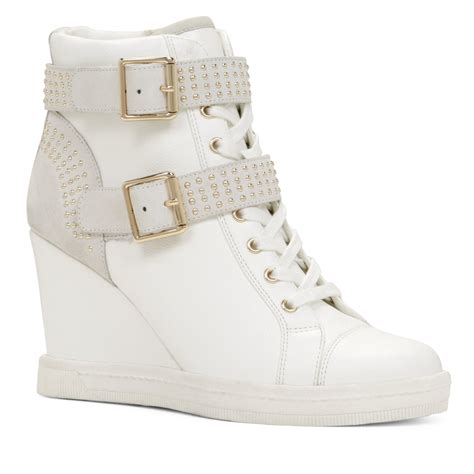 sneakers wedges shoes aldo verratti studded sneaker wedges in white lyst