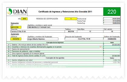 formato de certificado de ingresos y retenciones 2016 en colombia informes contables programa contable contapyme