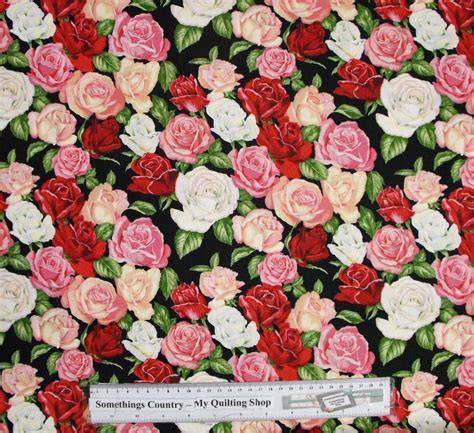 Patchwork And Quilting Fabric - patchwork quilting sewing fabric mixed roses allover