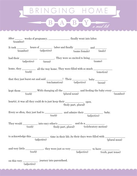 baby shower mad libs template baby shower mad libs template images