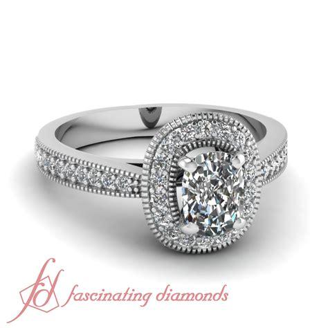 1 Carat Cushion Cut F-Color Diamond Flywheel Halo Milgrain ... 1 Carat Cushion Cut Halo Engagement Ring