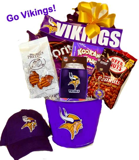 gifts for vikings fans minnesota vikings football basket