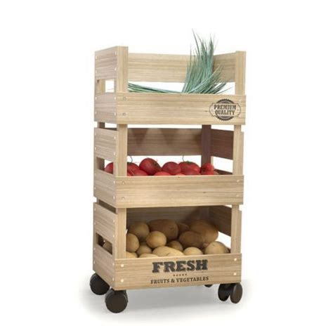 Spice Rack Tesco Wooden Trolley 3 Tier Kitchen Fresh Vegetable Fruit