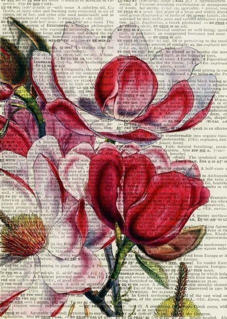 libro painting flowers de todo un poco imagenes impresas o pintadas con acuarelas en hojas de libros