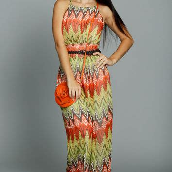 Jumpsuit D 1689 orange wide leg zig zag print jumpsuit from ustrendy dresses