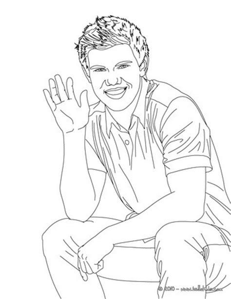 realistic person coloring page taylor lautner saluting coloring pages hellokids com
