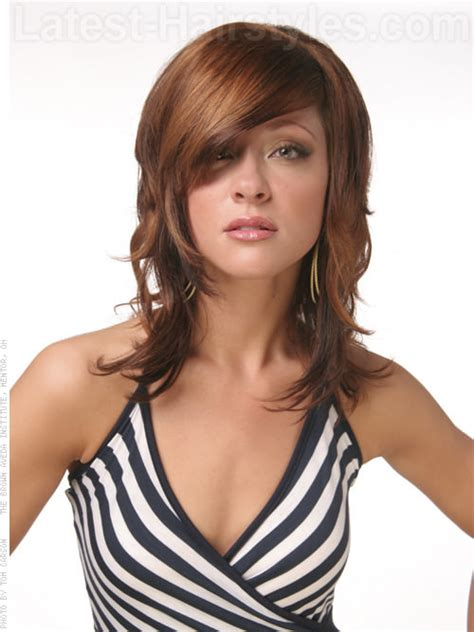 latest bang hairstyles 21 beautifully layered hairstyles for medium length hair