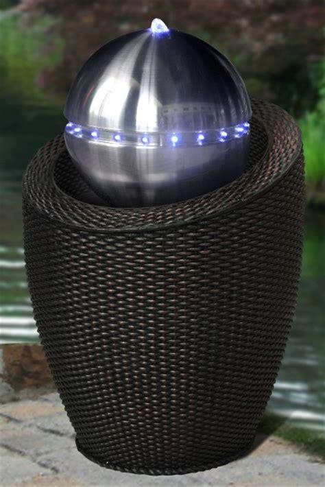 atlanta black wicker silver sphere water feature