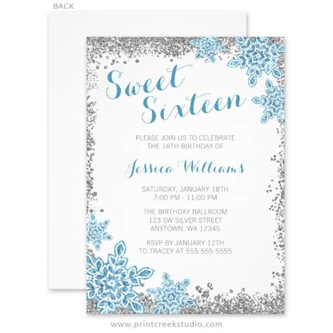 free template invitation card snowflakes sweet 16 glam winter silver blue invitations