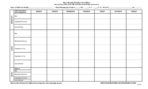 printable meal planning worksheets 7 best images of menu planning free printable worksheets