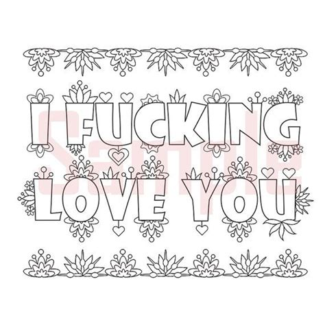sweary coloring page i fu king love you swearing