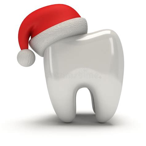 tooth wearing santa claus hat stock illustration image