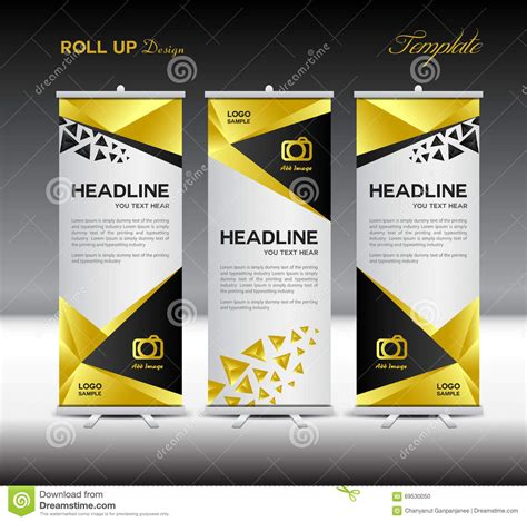 templates for roll up banners gold roll up banner template stand template vector