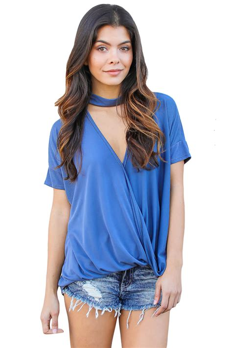v drape us 5 18 blue choker neck v cut drape loose fit top