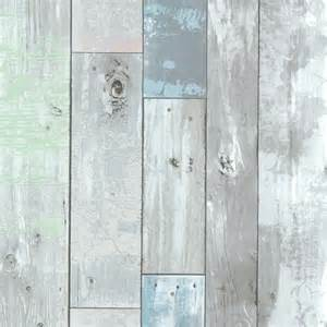 Dean Blue Distressed Wood Panel Wallpaper   Rustic   Wallpaper   by Brewster Home Fashions