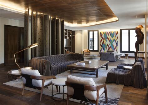 wood  interior design afro contemporary apartment