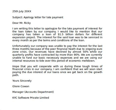 business apology letter late payment apology letter for being late 7 free documents