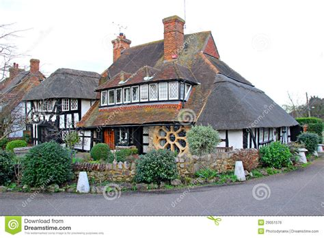Kent Cottages by Thatched Tudor Timber Kent Cottage Royalty Free Stock