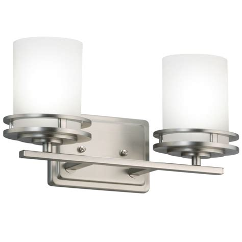 Glass Shades For Bathroom Light Fixtures Kichler 5077ni Brushed Nickel Hendrik 2 Light 15 Quot Wide Vanity Light Bathroom Fixture With Satin