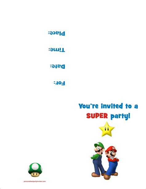 Mario Invitation Template mario bros free printable birthday invitation