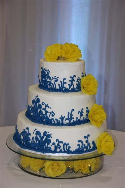 blue and yellow wedding cupcakes blue and yellow wedding cake cakecentral