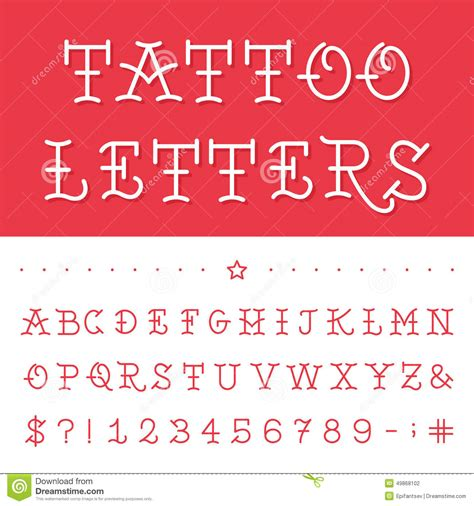 tattoo fonts traditional alphabet vector font stock vector illustration