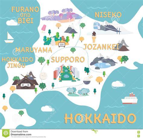 printable map hokkaido hokkaido travel map in flat illustration stock vector