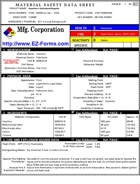 msds table of contents template msds ez msds material safety data sheet forms processor windows osha form hmis chemical hazard
