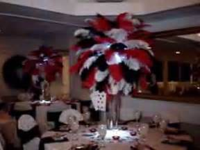 Black Vase Centerpiece Wedding Vegas Themed Ostrich Feathers In Red Black Amp White At The