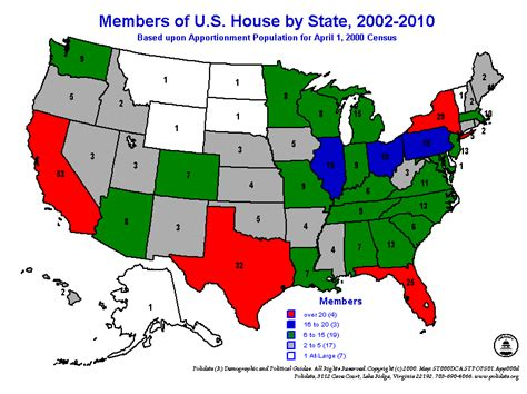 apportionment of house seats by state polidata reg apportionment maps us house 2000 census