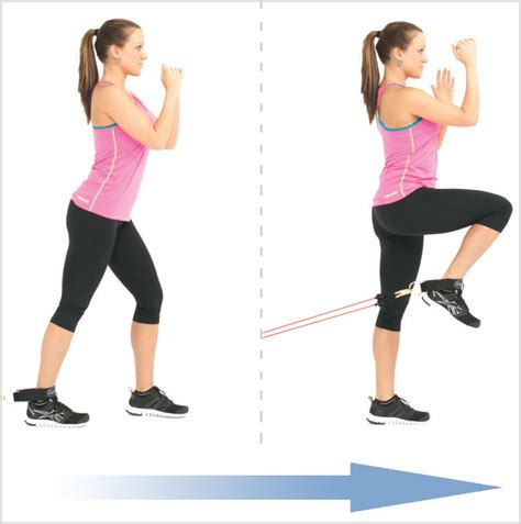 Standing L by Standing Knee Raise With Exercise Resistance Bands