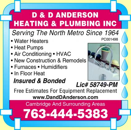 Minnesota Plumbing Code Book by D D Heating Plumbing Cambridge Mn 55008 5016 Yellowbook