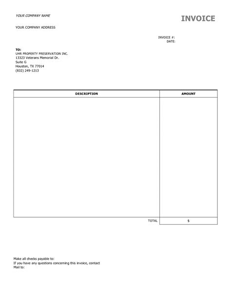 Blank Contractor Invoice Hardhost Info Blank Contractor Invoice Template