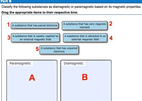 solved categorize each partial electron solved classify the following substances as diamagnetic o