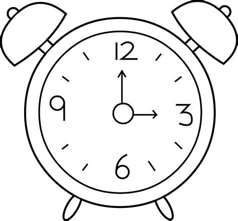 clock coloring page alarm clock line free clip
