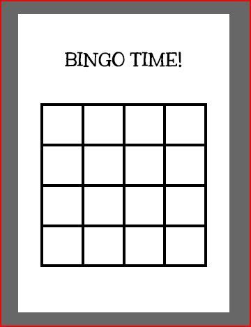 Blank Bingo Card Template 4x4 by Printable Blank Bingo Cards 4x4 Image Collections