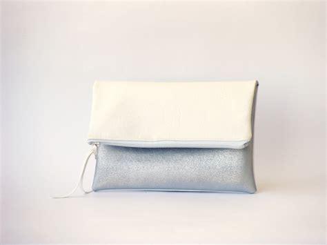 White Clutch white vegan foldover clutch silver leather evening purse