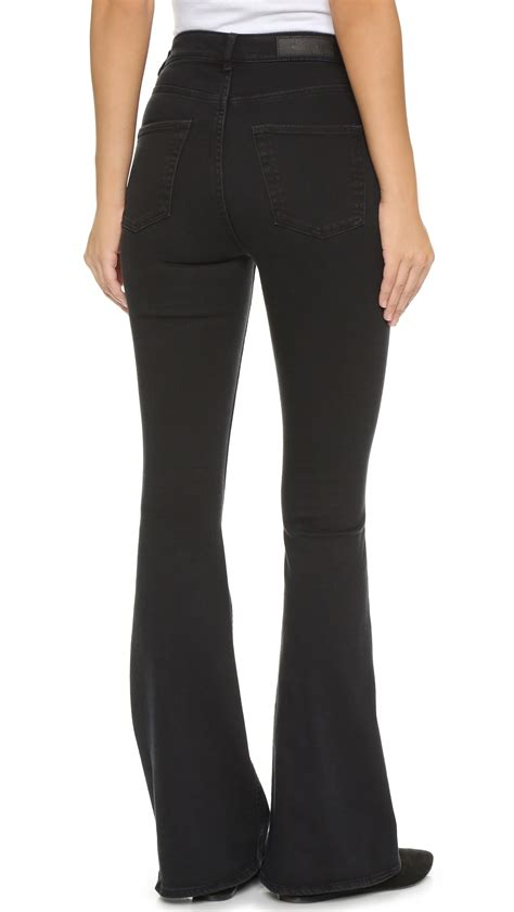 cheap monday cheap monday flare snap jeans in gray lyst