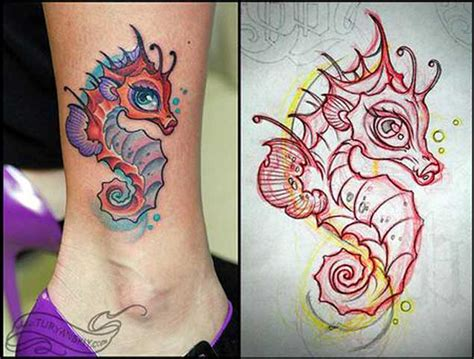 50 adorably cute seahorse tattoos tattooblend