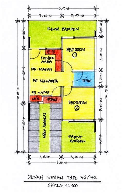 layout denah desain rumah minimalis type  gambar  home design ideas pinterest