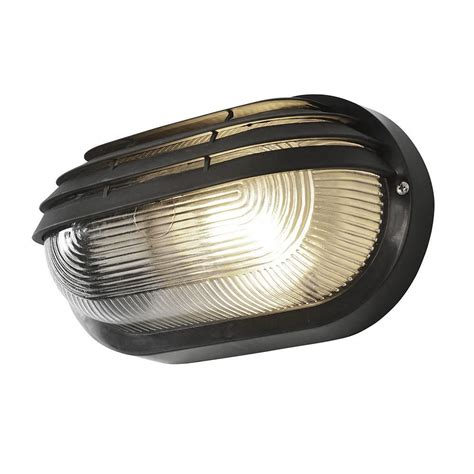 Black Light Outdoor Anders Oval Outdoor Bulkhead Eyelid Wall Light Black