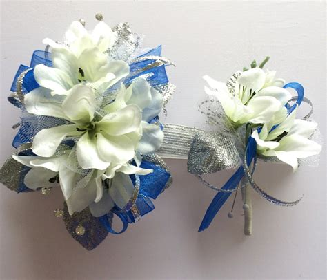 Corsage Blue Silver royal blue silver prom corsage by florescencebydesign on