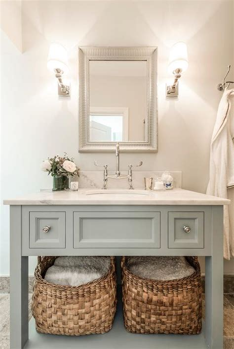 bathroom vanities with shelves blue gray vanity with shelf transitional bathroom