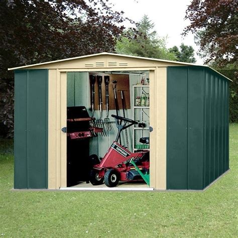 metal apex garden shed xft  green  cream homegenies