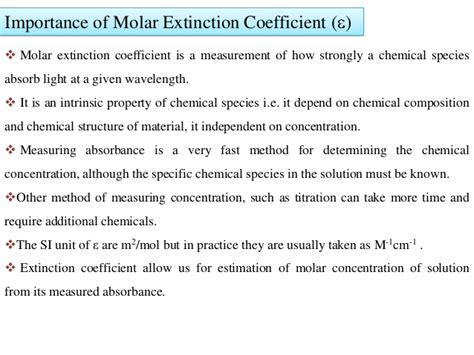 Molar Absorptivity Table by Molar Extinction Coefficient