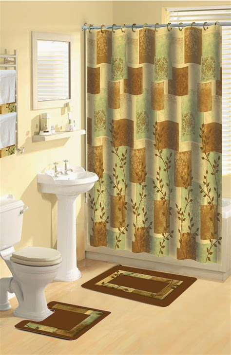 Bathroom Curtain And Rug Sets Home Dynamix Boutique Deluxe Shower Curtain And Bath Rug Set Bou 8 Soft Squares Brown Bath