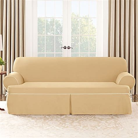 canvas sofa slipcover surefit cotton canvas t cushion sofa slipcover bed bath