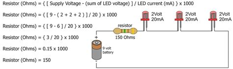 resistor to run led from 12v guide to leds and resistors